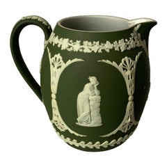 1940s Wedgwood Neoclassical Light Green Jasperware Pitcher