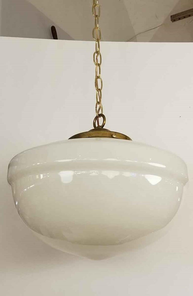 Industrial 1940s White Milk Glass Schoolhouse Pendant Light   with New Brass Harware For Sale