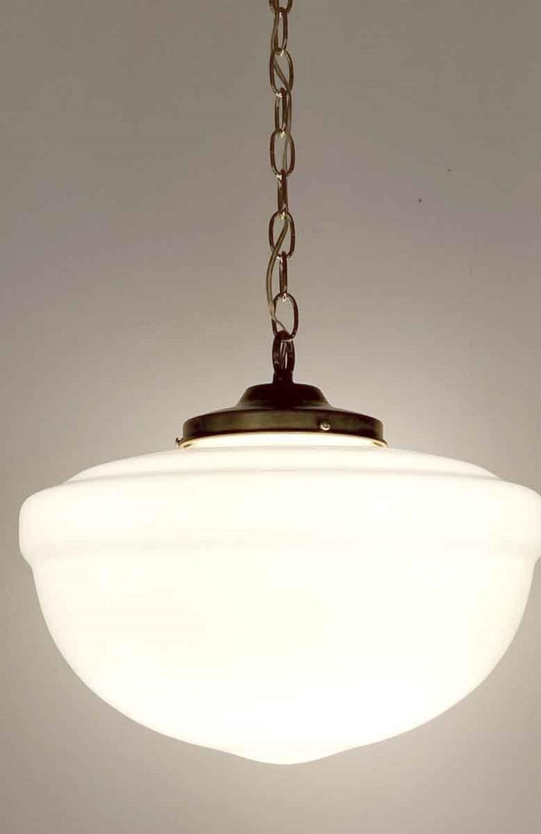 1940s White Milk Glass Schoolhouse Pendant Light   with New Brass Harware In Good Condition For Sale In New York, NY