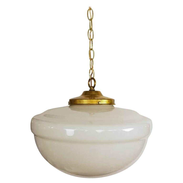 1940s White Milk Glass Schoolhouse Pendant Light   with New Brass Harware For Sale