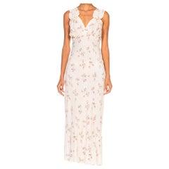 1940S White & Pink Rayon Bias Cut Floral Slip Dress Negligee