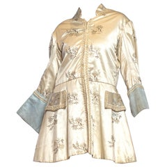 1940S White Rayon Satin Men's Floral Embroidered Frock Coat Jacket From France