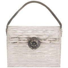 1940s Wilardy Clear Carved Lucite Handbag-Silver Clasp and Mesh Handle