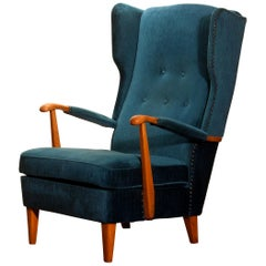 1940s Wingback Chair in Blue Velvet Model 77 by Knoll Malmö