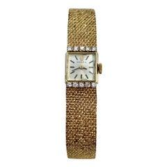 1940's Women's 14k Yellow Gold and Diamond Rolex Wristwatch Antique Rolex