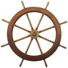 1940s Wood Ship Wheel with Bronze Center Hub, Spoke to Spoke