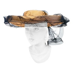 1940s Woven Panama Picture Hat with Spider Web Net and Drape