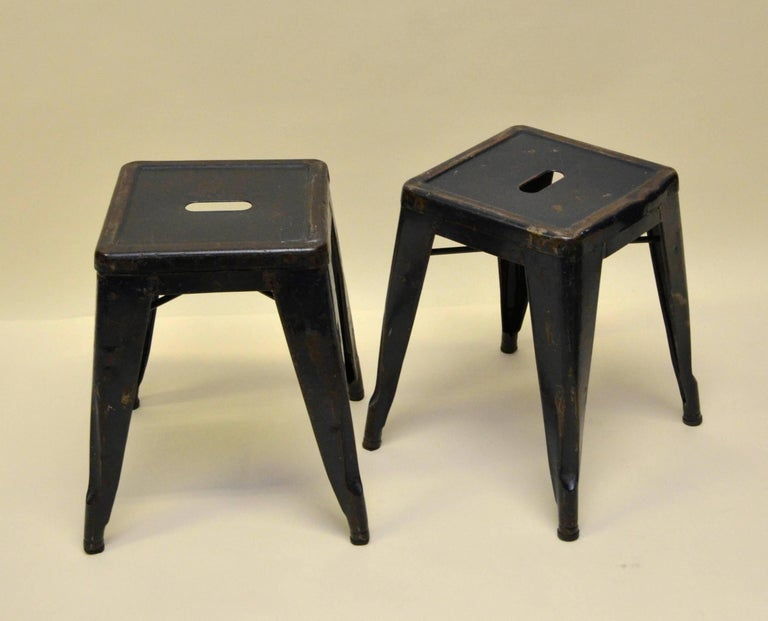 1940s Xavier Pauchard Pair of Blue Navy Metal Tolix Stools for French Air Force For Sale 5