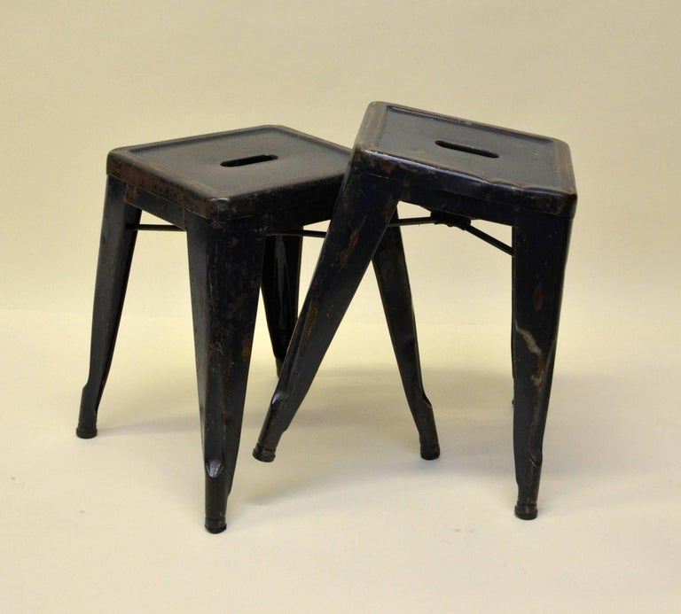 1940s Xavier Pauchard Pair of Blue Navy Metal Tolix Stools for French Air Force For Sale 6