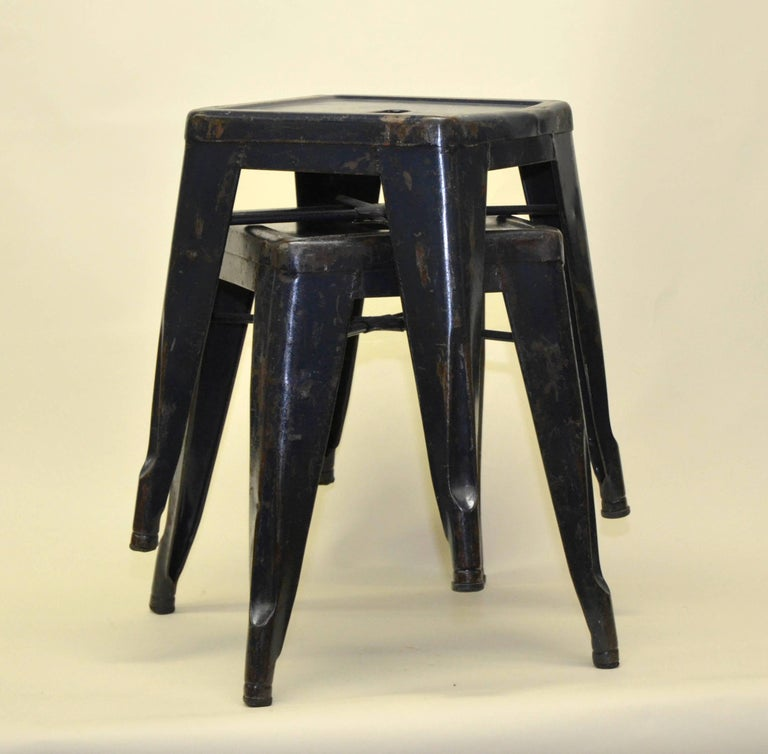1940s Xavier Pauchard Pair of Blue Navy Metal Tolix Stools for French Air Force For Sale 1