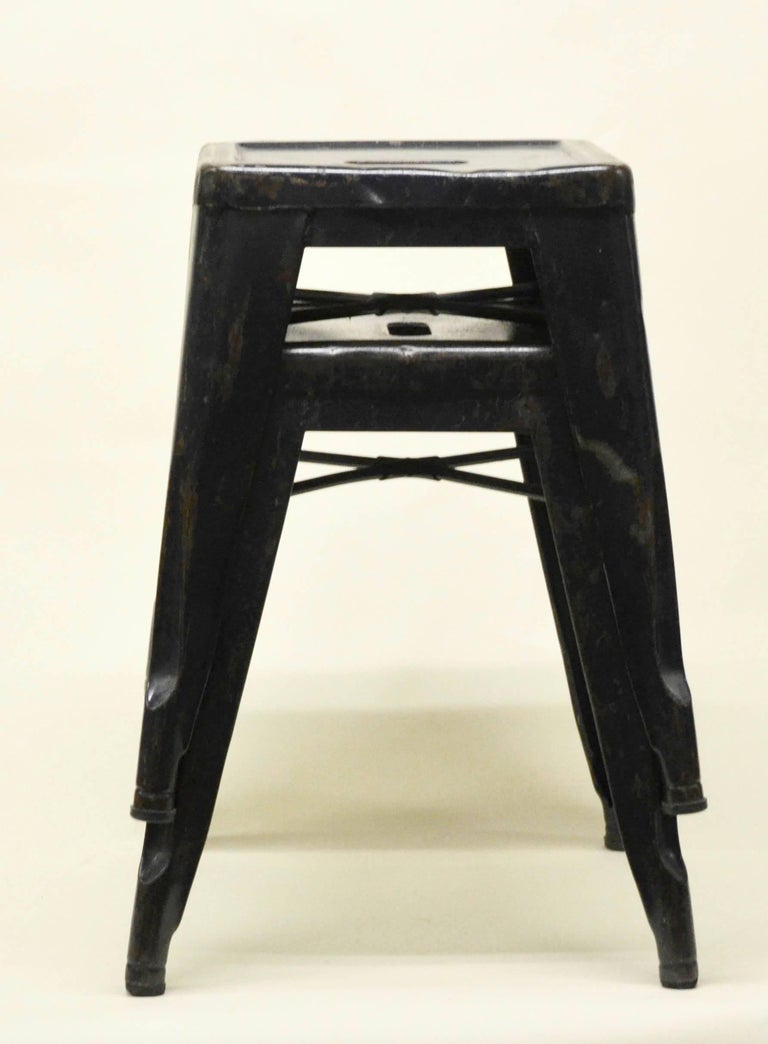 1940s Xavier Pauchard Pair of Blue Navy Metal Tolix Stools for French Air Force For Sale 2