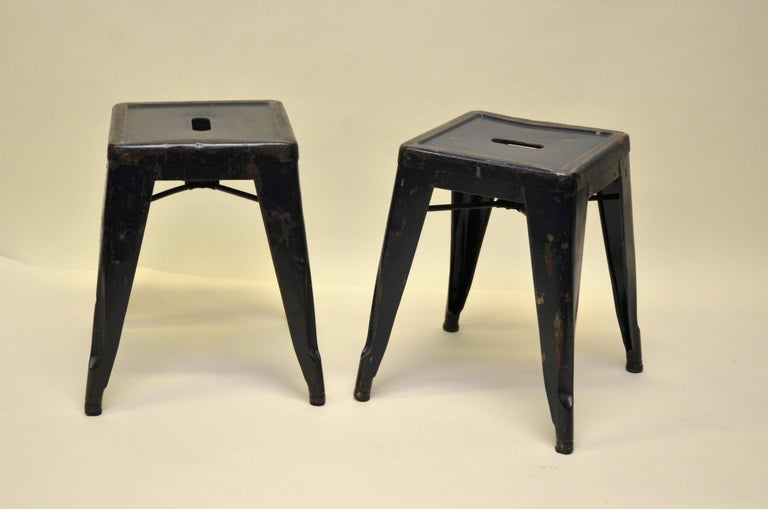 1940s Xavier Pauchard Pair of Blue Navy Metal Tolix Stools for French Air Force For Sale 3