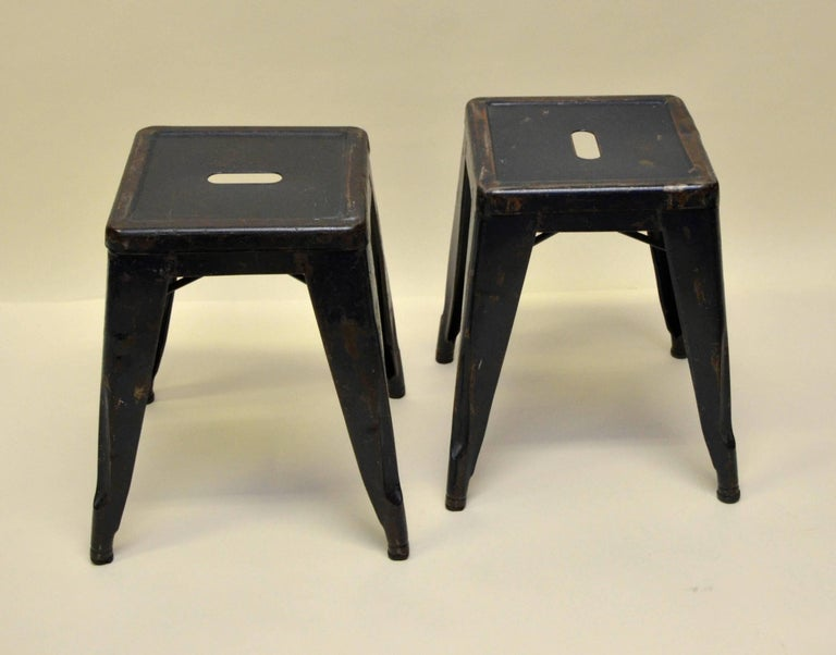 1940s Xavier Pauchard Pair of Blue Navy Metal Tolix Stools for French Air Force For Sale 4