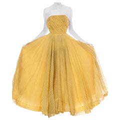 1940S Yellow Chiffon Striped Strapless Gown
