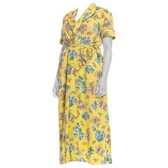 1940S Yellow Cotton Seersucker Blue Floral Wrap House Dress With Belt & Pocket