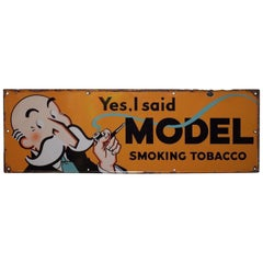 "1940s ""Yes, I Said"" Model Smoking Tobacco Porcelain Sign"