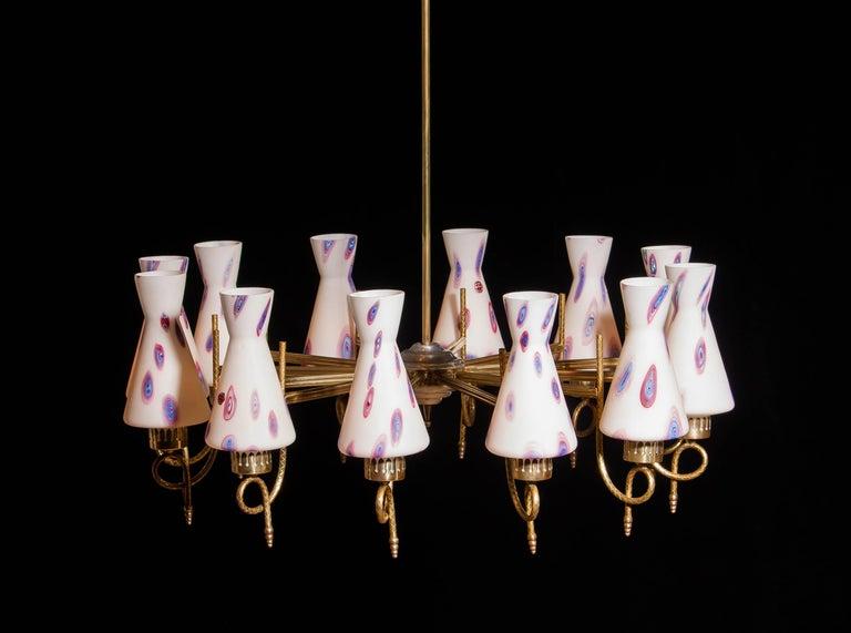 1940s, Large Brass and Multicolored Murano Venini Glass Chandelier 1