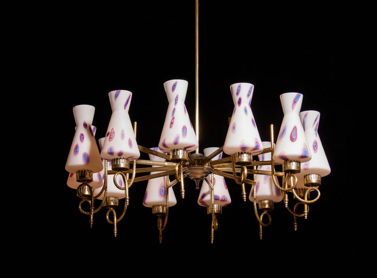 1940s, Large Brass and Multicolored Murano Venini Glass Chandelier 3