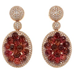 19.41 Carat Pink Tourmaline Earring in 18 Karat Rose Gold with Diamonds