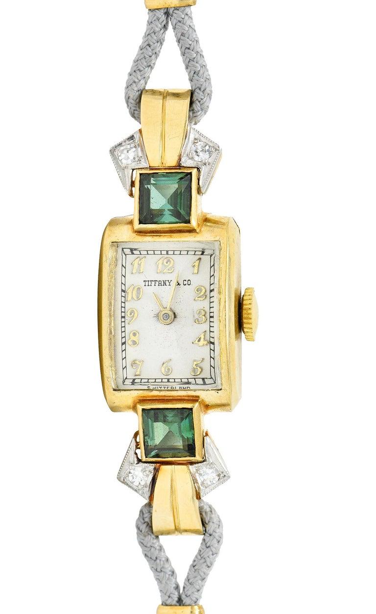 1941 Tiffany & Co. Green Tourmaline Diamond Platinum-Topped 14 Karat Gold Watch  4