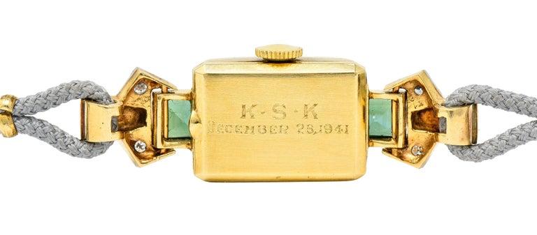 1941 Tiffany & Co. Green Tourmaline Diamond Platinum-Topped 14 Karat Gold Watch  5