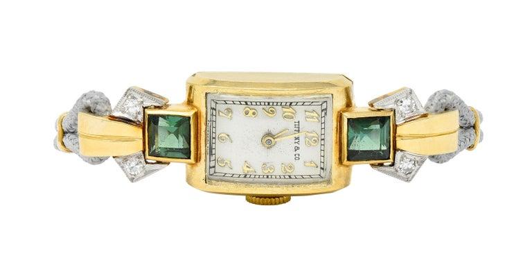 1941 Tiffany & Co. Green Tourmaline Diamond Platinum-Topped 14 Karat Gold Watch  8