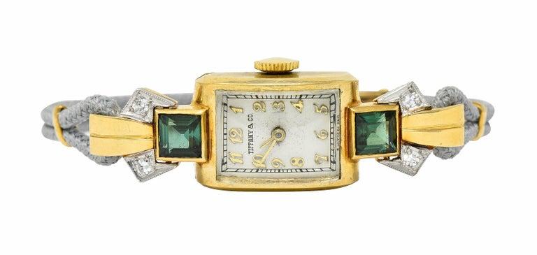 Retro 1941 Tiffany & Co. Green Tourmaline Diamond Platinum-Topped 14 Karat Gold Watch