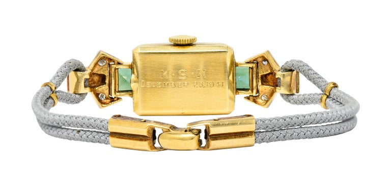 1941 Tiffany & Co. Green Tourmaline Diamond Platinum-Topped 14 Karat Gold Watch  In Excellent Condition In Philadelphia, PA