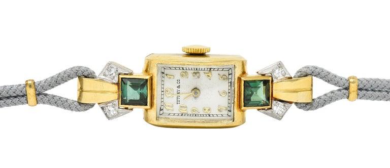 1941 Tiffany & Co. Green Tourmaline Diamond Platinum-Topped 14 Karat Gold Watch  2