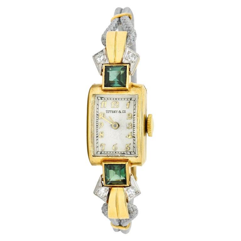 1941 Tiffany & Co. Green Tourmaline Diamond Platinum-Topped 14 Karat Gold Watch