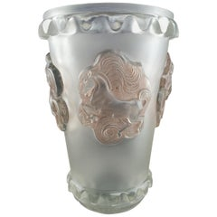 1942 René Lalique Camargue Vase in Frosted Glass with Sepia Patina