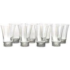 1942 René Lalique Set 8 Pieces Glasses Reims Grey Patina