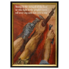 "1942 ""Strong in the Strength of the Lord"" by David Martin, Vintage WWII Poster"