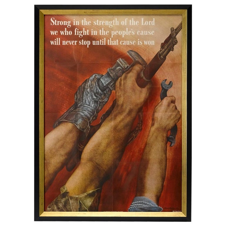 """1942 """"Strong in the Strength of the Lord"""" by David Martin, Vintage WWII Poster For Sale"""