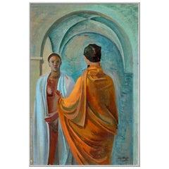 "1943 Mario Tozzi ""Confidenze"" Oil on Canvas Painting"