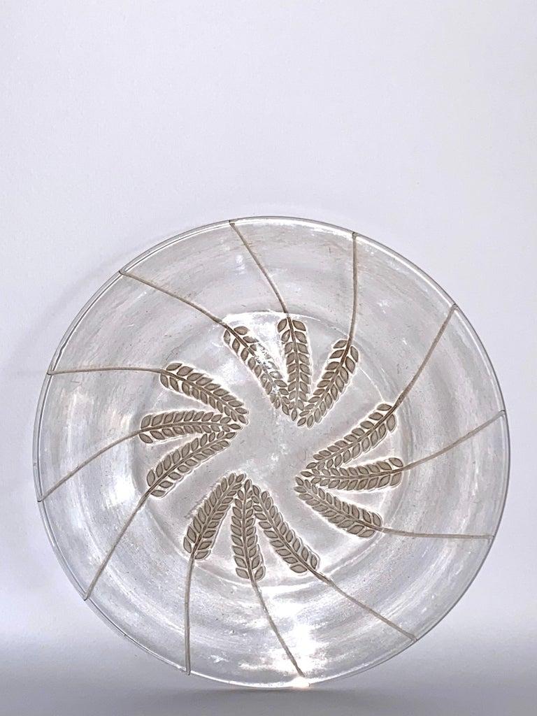 Art Deco 1943 Rene Lalique France Set of 10 Lucerne Crystal Plates Sepia Patina, Corn For Sale
