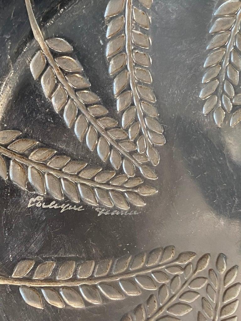 European 1943 Rene Lalique France Set of 10 Lucerne Crystal Plates Sepia Patina, Corn For Sale
