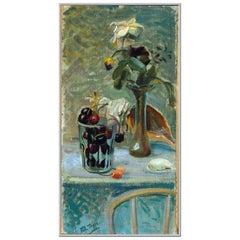 """1944 Mario Tozzi """"Conchiglie e Fiori"""" Oil on Canvas Still Life Painting"""