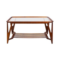 1945-1950 Large Coffee Table, Cherrywood and Glass, Italy