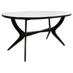 1945-50 Oval Dining Table, Beech Wood, Original Back Painted Glass, Italy