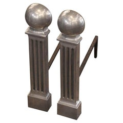 1945 Pair of Aluminum Art Deco Andirons with Gobe Finials