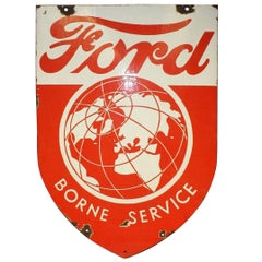 1946-1953 Ford Borne Service Double Sided Porcelain Shield Sign