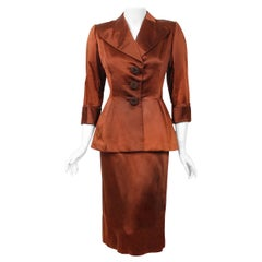 1946 Balenciaga Haute-Couture Copper Satin Tailored Peplum Jacket and Skirt Suit