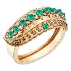 1946 Cartier Paris Duchess of Windsor Style Emerald Sapphire Diamond Gold Bangle