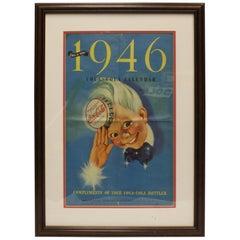 """1946 Original Coca Cola Calendar """"Sprite Boy"""" Framed Advertising"""