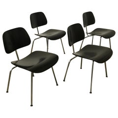 1946, Ray and Charles Eames for Herman Miller, Set of 4 DCM in Black Version