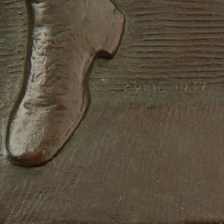Mid-Century Modern 1947 Bronze Plaque by Warner Williams For Sale