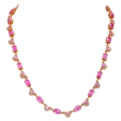 19.47 Carat Pink Sapphire Necklace in 18 Karat Rose Gold with Diamonds