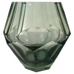 1947 Crystal Steelblue Octagonale Vase from Leerdam by Andries Dirk Copier