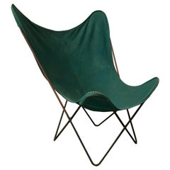 1947, Hardoy, Ferrari, Green Cover with Grey Base Butterfly Chair